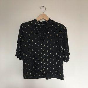 Club Monaco cropped silk blouse
